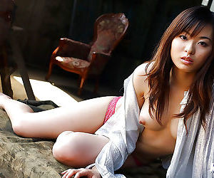 Adorable asian babe Hikaru Koto showcasing her barely clothed body
