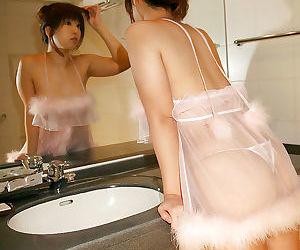 Sexy asian babe with big tits and hairy cunt taking a shower