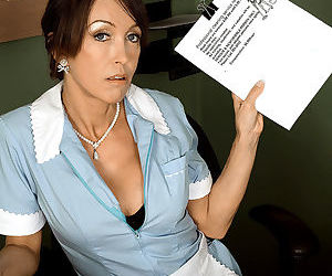 Mature waitress Christina Cross sheds her uniform to suck cock at the diner