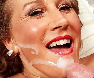 Older American lady gets a facial cumshot after her young lover butt fucks her