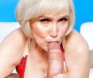 Granny with juicy tits is full of energy to suck and ride guys powerful penis