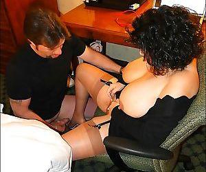 Fatty mature in stockings Carol Foxxx gets a creamy cumshot on her big tits