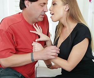 Cheating housewife Britney Amber hooks up with her lover in a black dress
