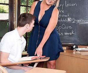 Sexy big tit teacher Sheree Delight fucks her stud in the classroom