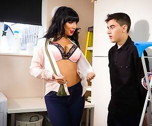 Busty Belgian chick Valentina Ricci seduces her stepson in the laundry room