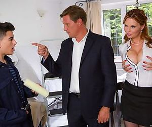 Horny mother Tarra White and her stepdaughter Leyla Morgan share a big cock