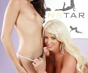 Blonde lady Alura Jenson and her stepdaughter Avi Love hump in the nude