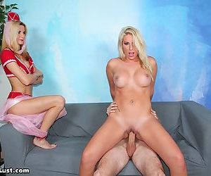 Horny man uses a Jeanie to conjured up a busty blonde slut to fuck