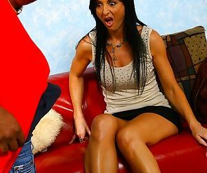 Dark haired chick Lake Russell sucks off a black dick after it was in her twat