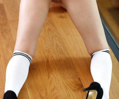 Beautiful blonde Sambuca on her knees saggy tits hanging wearing knee socks
