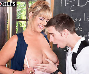 Older schoolteacher Sheree Delight seduces her young student in her classroom
