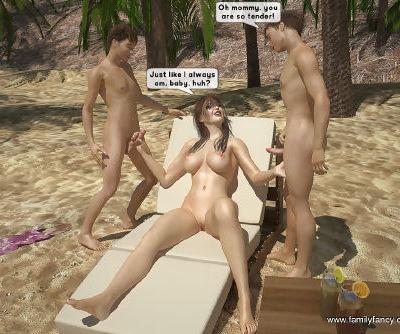 FamilyFancy3D- Family orgy at the beach