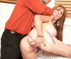 Full of energy cougar Sheri Fox gets her pierced pussy and tight ass nailed