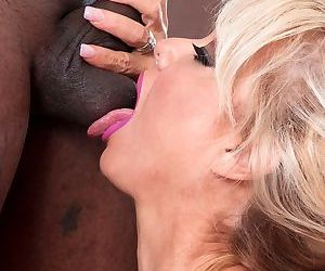 Older blonde bombshell Bella Dea drips jizz from tongue after sex with a BBC