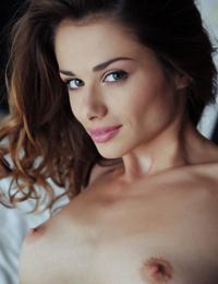 Charming slim brunette Loretta spreads her orgasmic pink slit - part 2