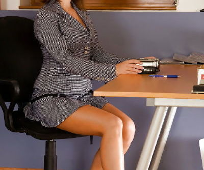Stupendous secretary stripping and teasing her pink pussy in the office