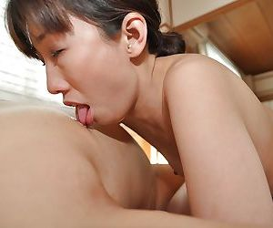 Asian MILF Rumi Hirose gets her shaggy cunt cocked up and creampied