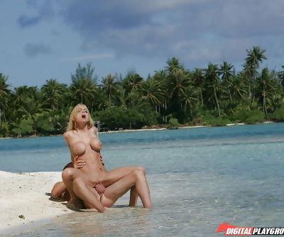 Latina blonde Jesse Jane is banging hard and getting cum on boobies - part 2