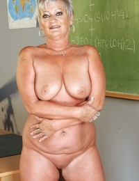 Short haired fatty granny stripping off her dress and lingerie - part 2