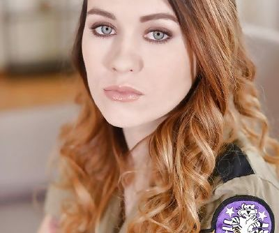 Military uniform attired babe Misha Cross undressing to spread smooth pussy