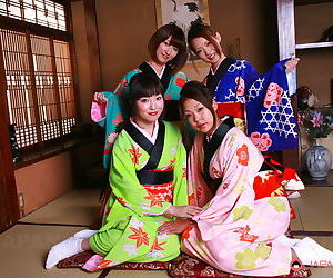Hot young Japanese models remove their kimonos for raunchy group groping