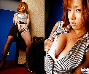 Asian babe in stockings Azusa Isshiki revealing her big jugs and hairy cooter