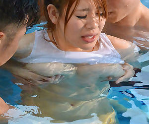 Japanese chick with big tits bangs three guys by the pool - part 4104