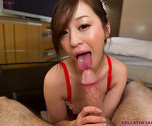 Cute Japanese girl Ono Maria teases in lingerie before giving a POV blowjob
