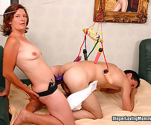 Adult diaper wearer gets strapon fucked - part 815