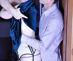 Lewd mom in a sexy evening gown seduces a young broker into stea - part 1173