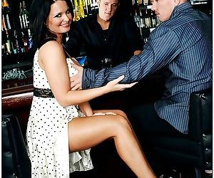 Sexy brunette cougar gets fucked by two guys in the bar - part 2334