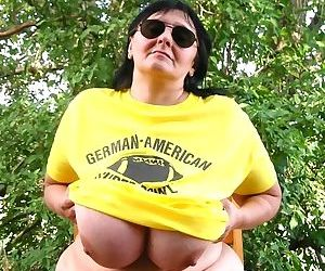 Giant tits brunette mature fatty getting nasty outdoors - part 2496