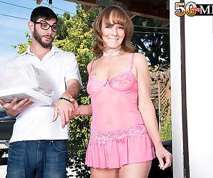 Beautiful mature cyndi sinclair sheds pink lace lingerie to suck a mouthful - part 2172