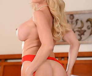 Naughty titted milf lady in red stocking - part 1741