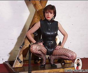 Mature fetish lady in leather outfit flashing her tits and pussy - part 2555