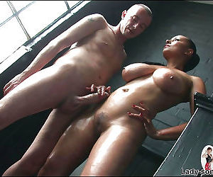 Oiled milf titfucked and gives footjob - part 2965