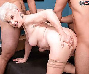 Slutty grandma jewel sucks and fucks two big cocks - part 2646