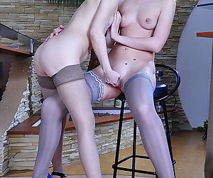 Heated female co workers kiss on the mouth ready for mix age les - part 2636