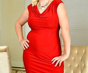 Anna moore busty mature blonde in a red dress stripping - part 3