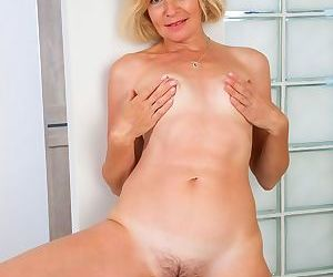 Diana douglas hairy milf blonde in lingerie and stockings strips - part 4