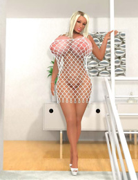Busty 3d blondie in white fishnet bodysuit posing on the stairs - part 555
