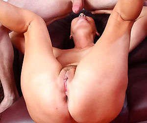 Busty brunette milf lady licking horny asshole - part 4511