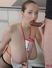 Busty Buffy covers huge tits with chocolate while giving a blowjob
