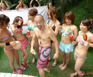 Japanese girls in bikinis have their pussies fingered by their man friends