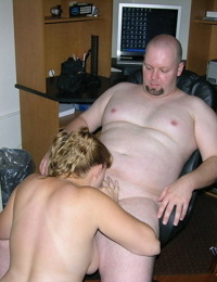 Plump 18 year old amateur undresses and fucks an old bald guy