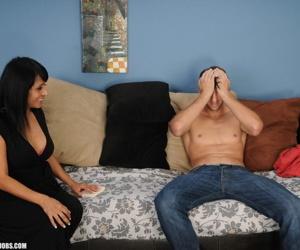 Mature Latina woman Isabella Montoya removes her dress before a handjob