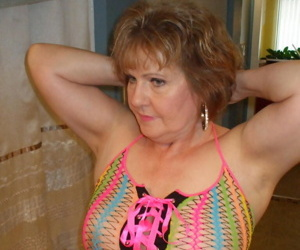 Mature wifey Busty Bliss posing in her exotic see through mesh top