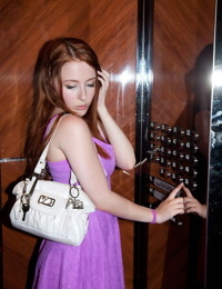 Hot redhead girl dora flynn posing in her sexy puprle dress - part 4425