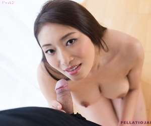 Japanese chick plays with cum in her mouth after a POV blowjob