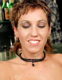 Slutty chick in stripper boots having guys jizz on her face after sex